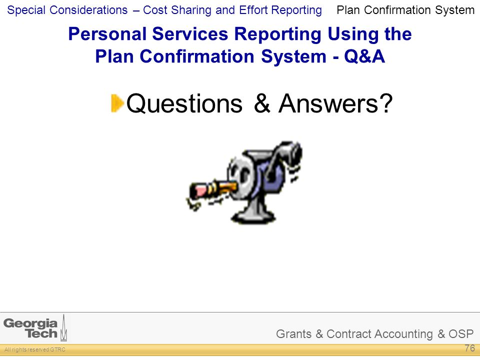 Personal Services Reporting Using the Plan Confirmation System - Q&A