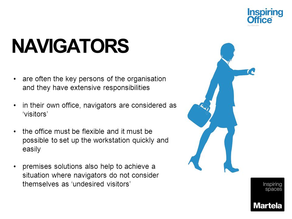 NAVIGATORS are often the key persons of the organisation and they have extensive responsibilities.