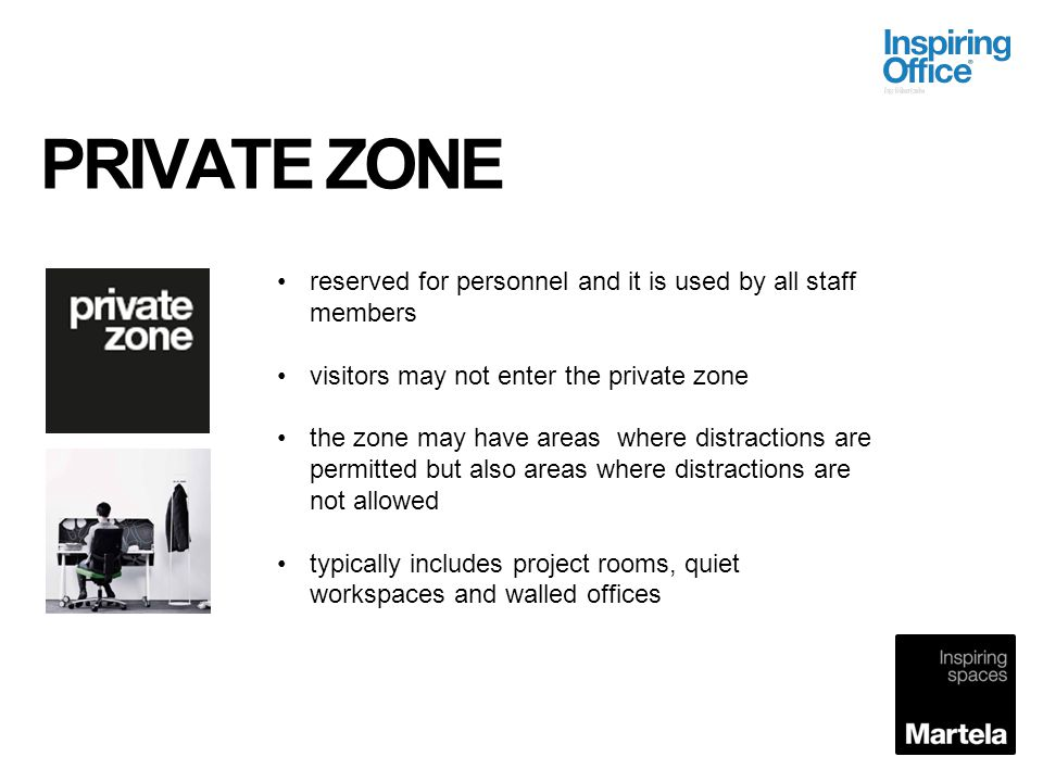 PRIVATE ZONE reserved for personnel and it is used by all staff members. visitors may not enter the private zone.