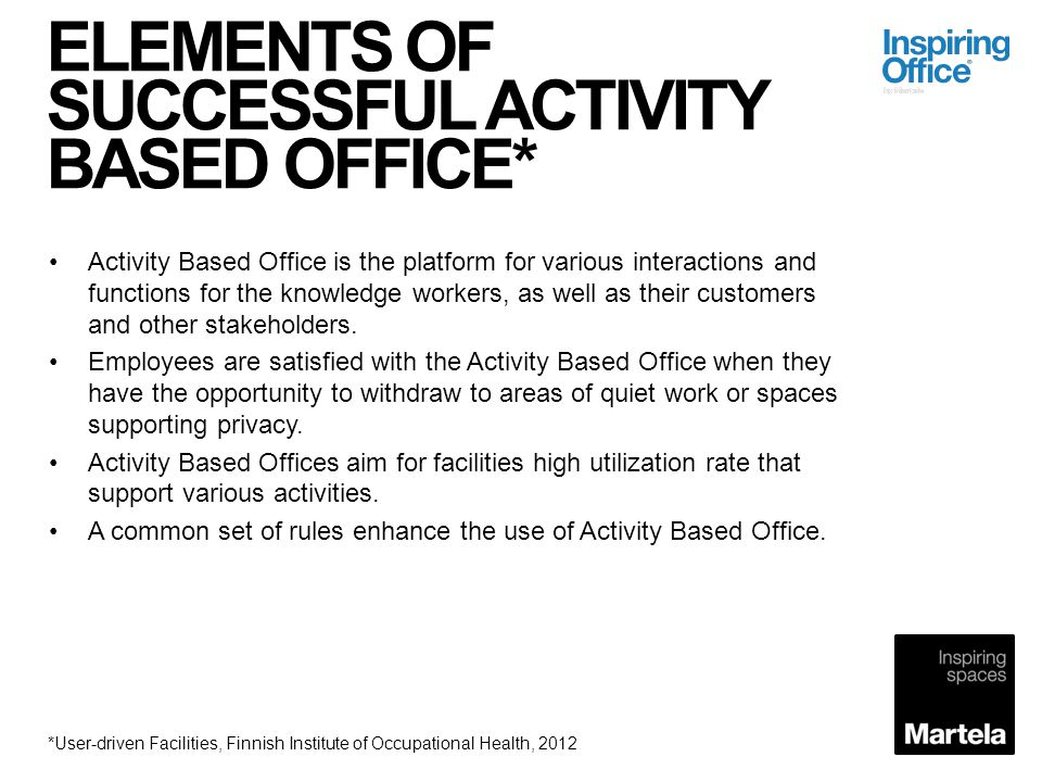 ELEMENTS OF SUCCESSFUL ACTIVITY BASED OFFICE*
