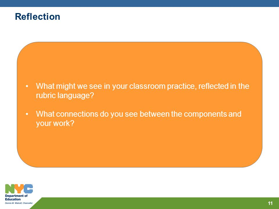 Reflection What might we see in your classroom practice, reflected in the rubric language