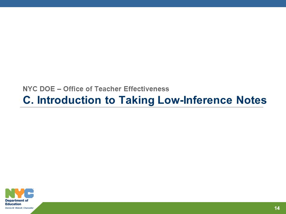 NYC DOE – Office of Teacher Effectiveness C