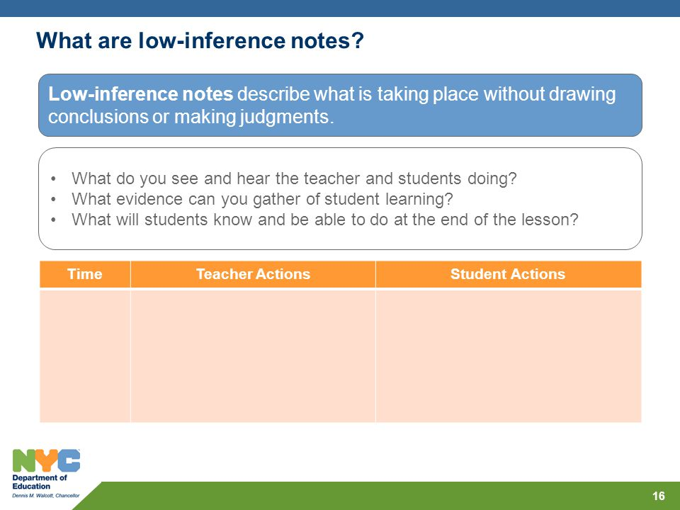 What are low-inference notes