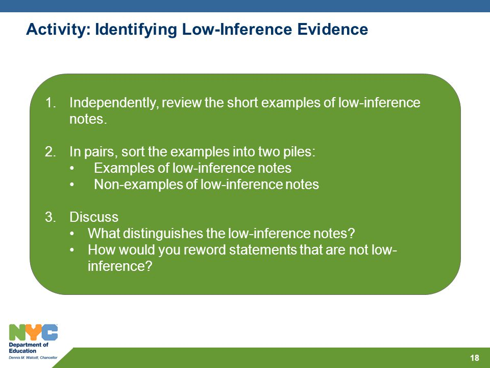 Activity: Identifying Low-Inference Evidence