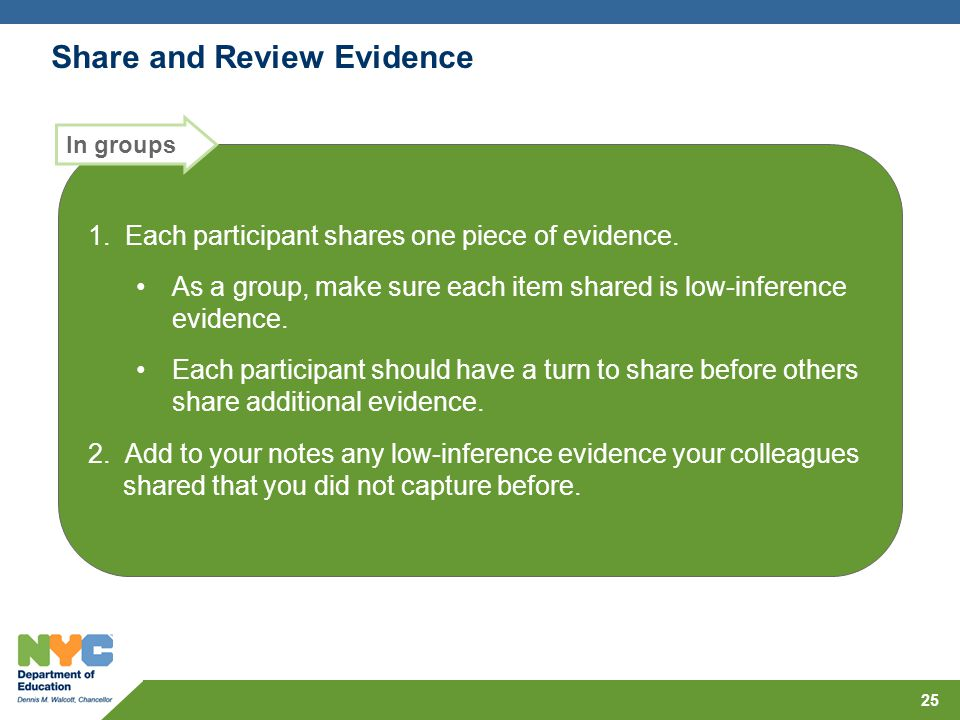 Share and Review Evidence