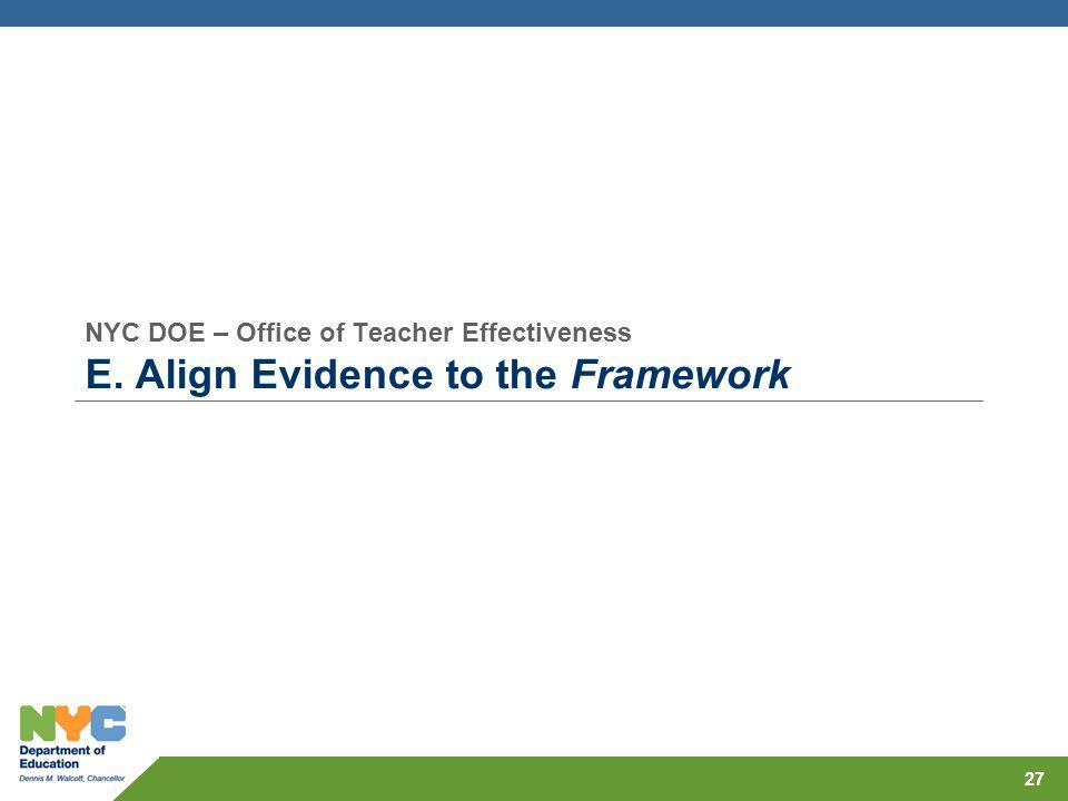 NYC DOE – Office of Teacher Effectiveness E