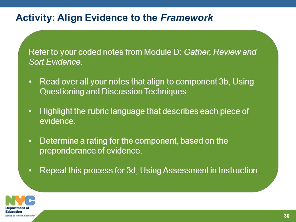 Activity: Align Evidence to the Framework