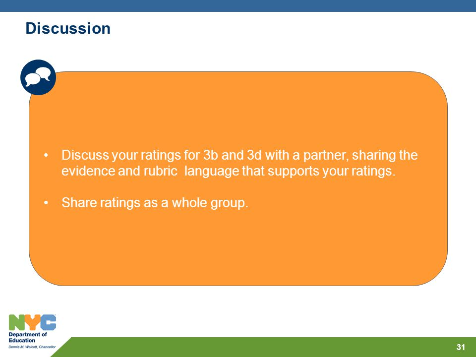 Discussion  Discuss your ratings for 3b and 3d with a partner, sharing the evidence and rubric language that supports your ratings.