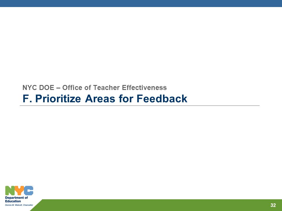 NYC DOE – Office of Teacher Effectiveness F