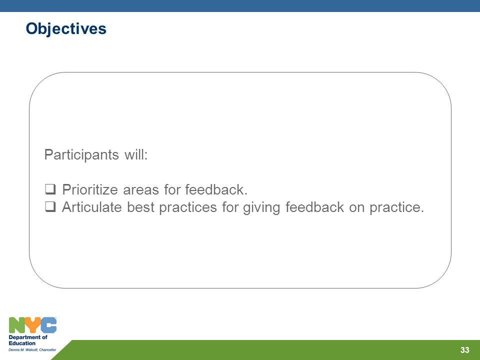 Objectives Participants will: Prioritize areas for feedback.
