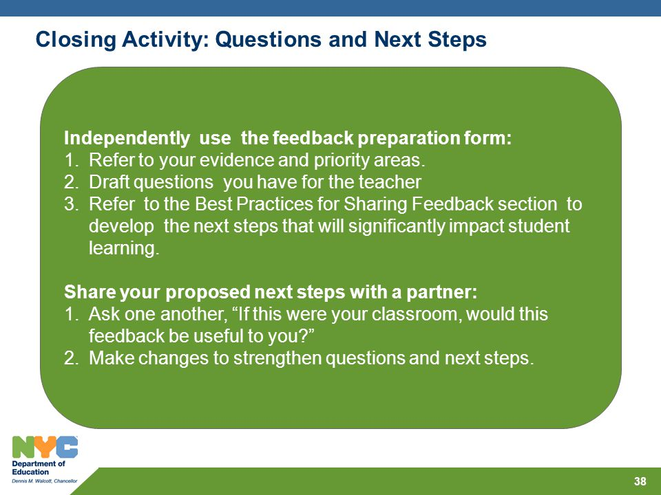 Closing Activity: Questions and Next Steps