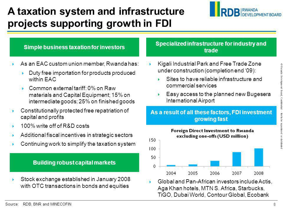 A taxation system and infrastructure projects supporting growth in FDI