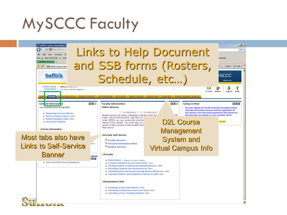 MySCCC Faculty Links to Help Document and SSB forms (Rosters, Schedule, etc…) D2L Course Management.