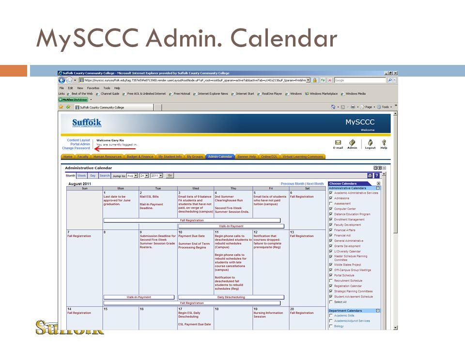 MySCCC Admin. Calendar Self Service Banner Folder is accessible in MySCCC Portal Channel