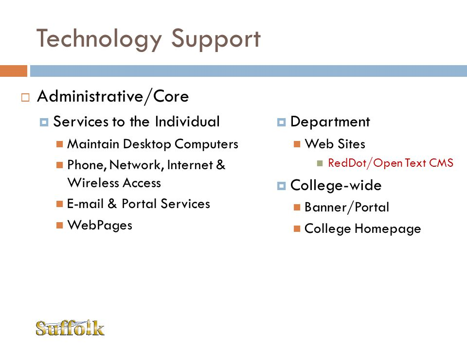 Technology Support Administrative/Core Services to the Individual