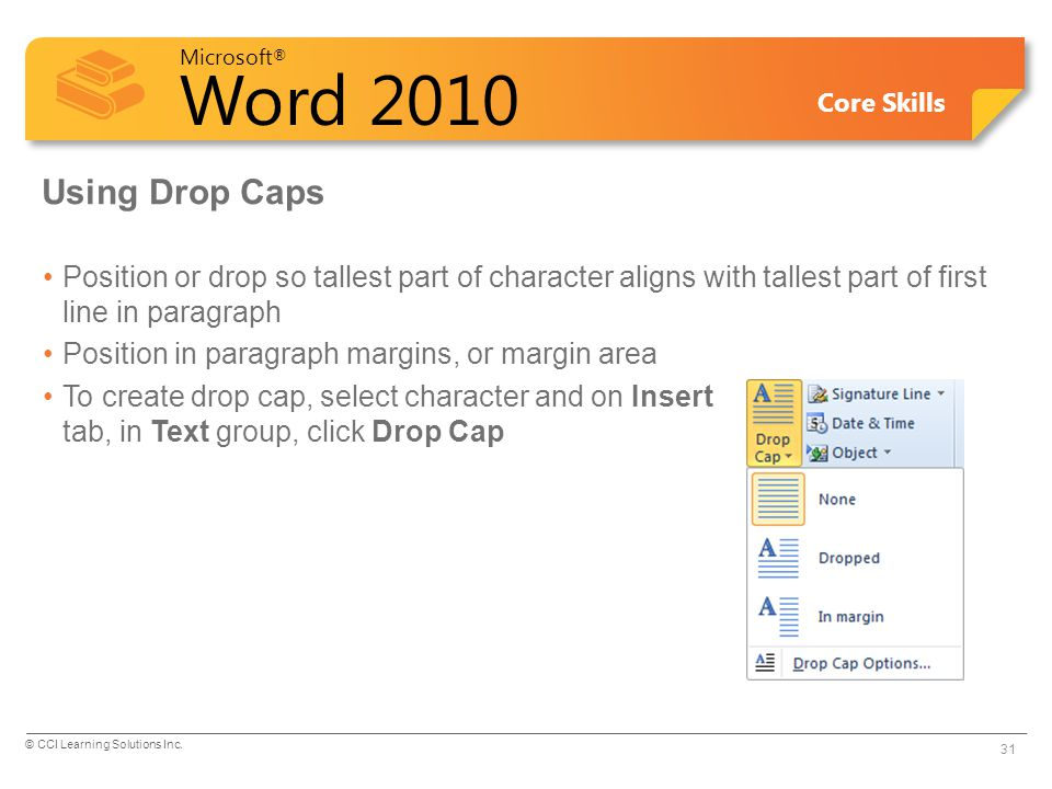 Using Drop Caps Position or drop so tallest part of character aligns with tallest part of first line in paragraph.