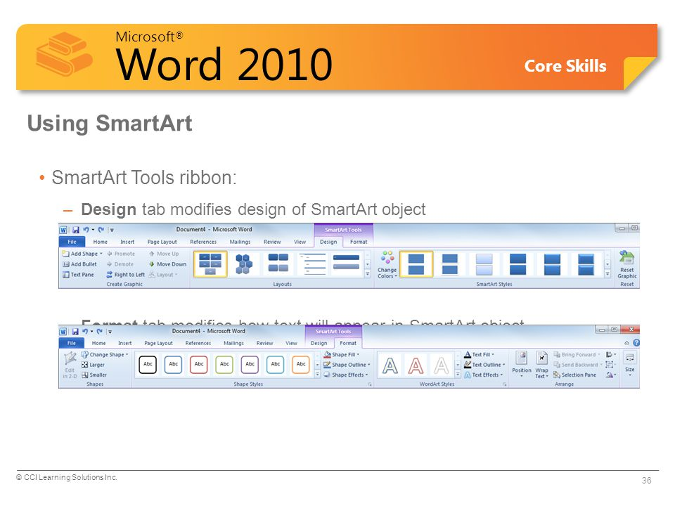 Using SmartArt SmartArt Tools ribbon: