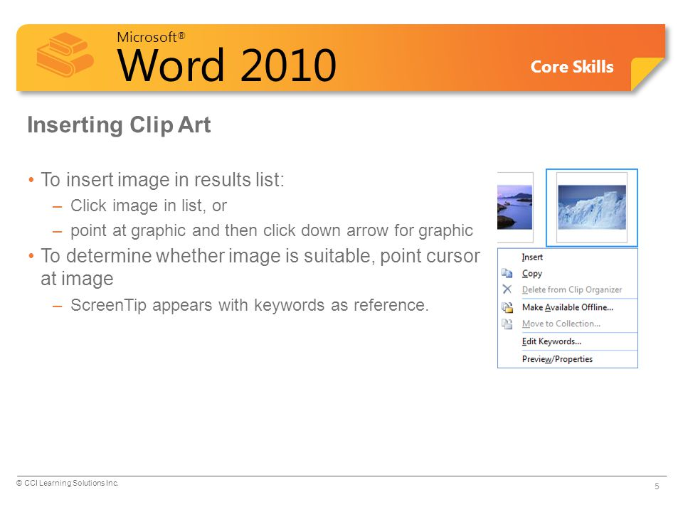 Inserting Clip Art To insert image in results list: