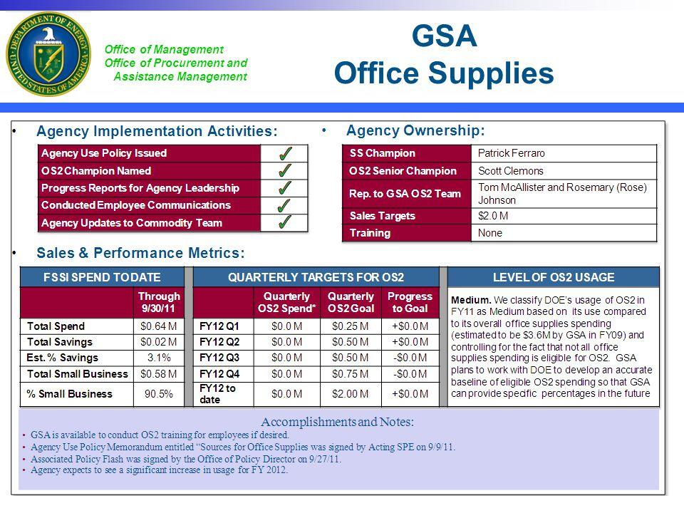 GSA Office Supplies Huge savings opportunities exist at DOE