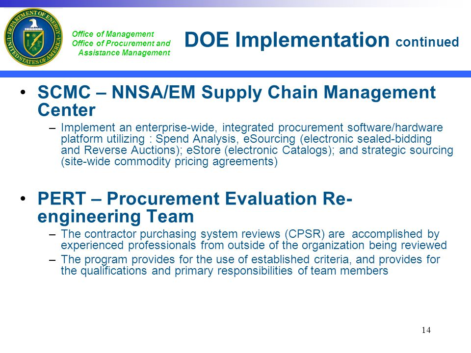 DOE Implementation continued