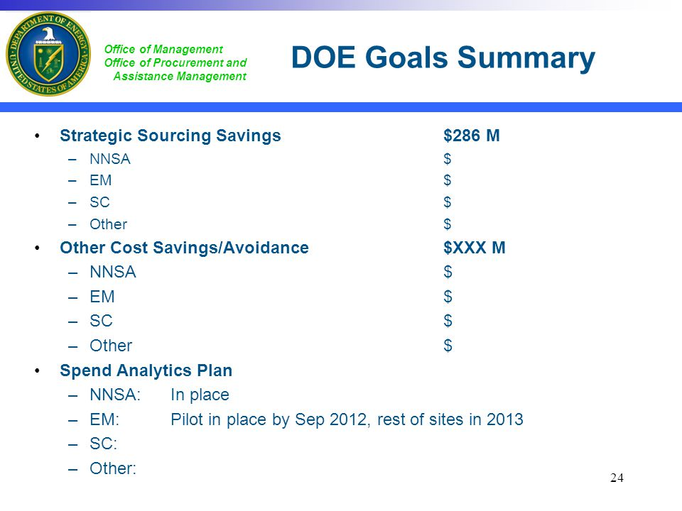 DOE Goals Summary Strategic Sourcing Savings $286 M