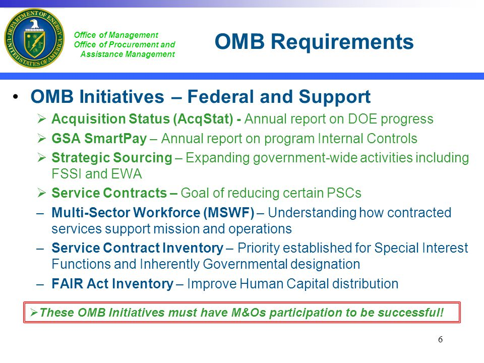 OMB Requirements OMB Initiatives – Federal and Support