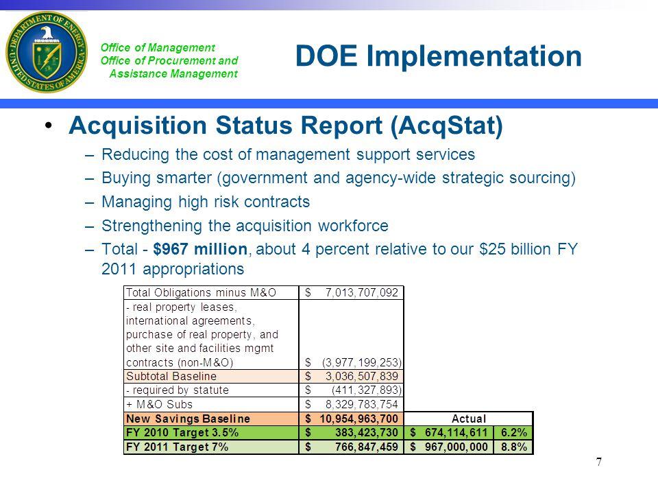 DOE Implementation Acquisition Status Report (AcqStat)