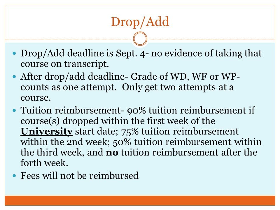 Drop/Add Drop/Add deadline is Sept. 4- no evidence of taking that course on transcript.