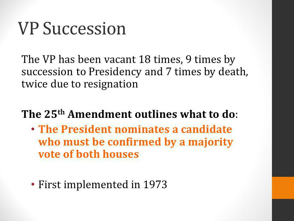 VP Succession The VP has been vacant 18 times, 9 times by succession to Presidency and 7 times by death, twice due to resignation.