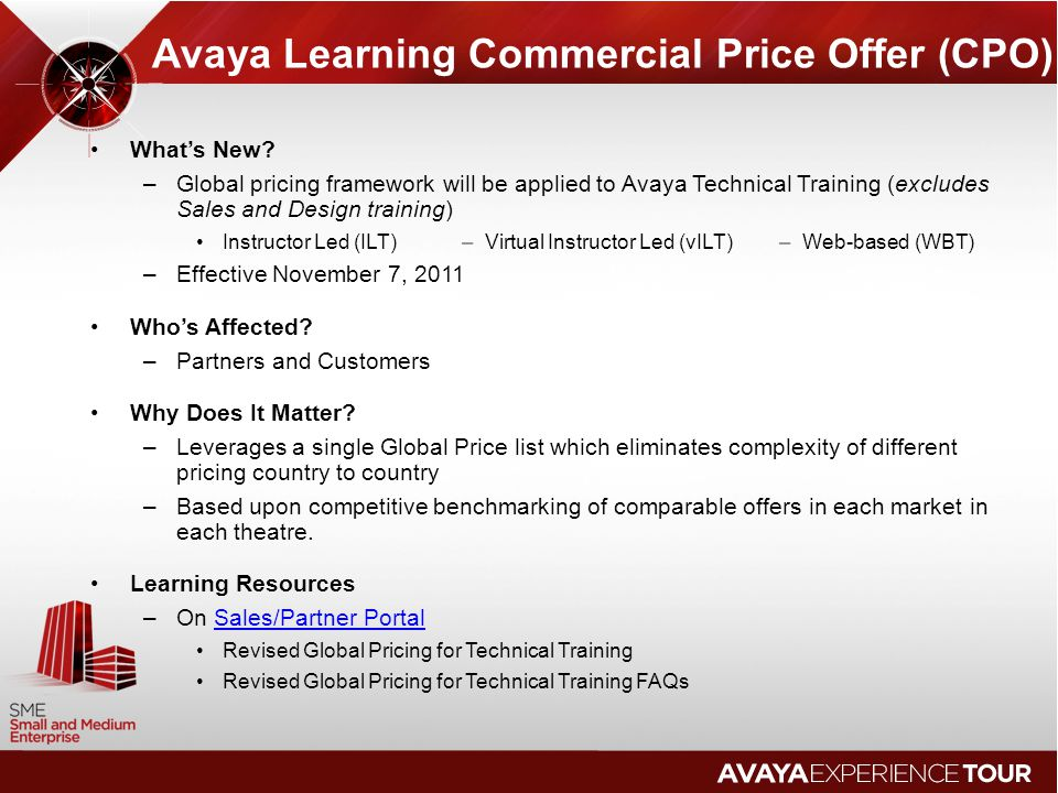 Avaya Learning Commercial Price Offer (CPO)