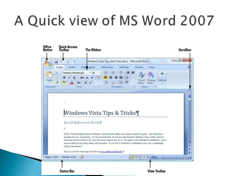 A Quick view of MS Word 2007