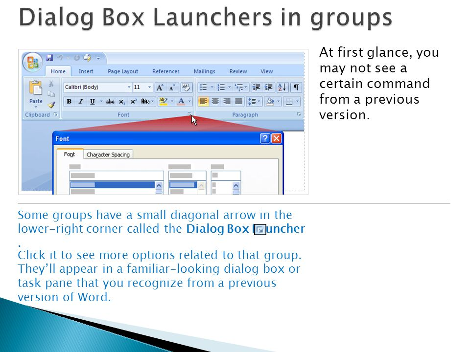 Dialog Box Launchers in groups