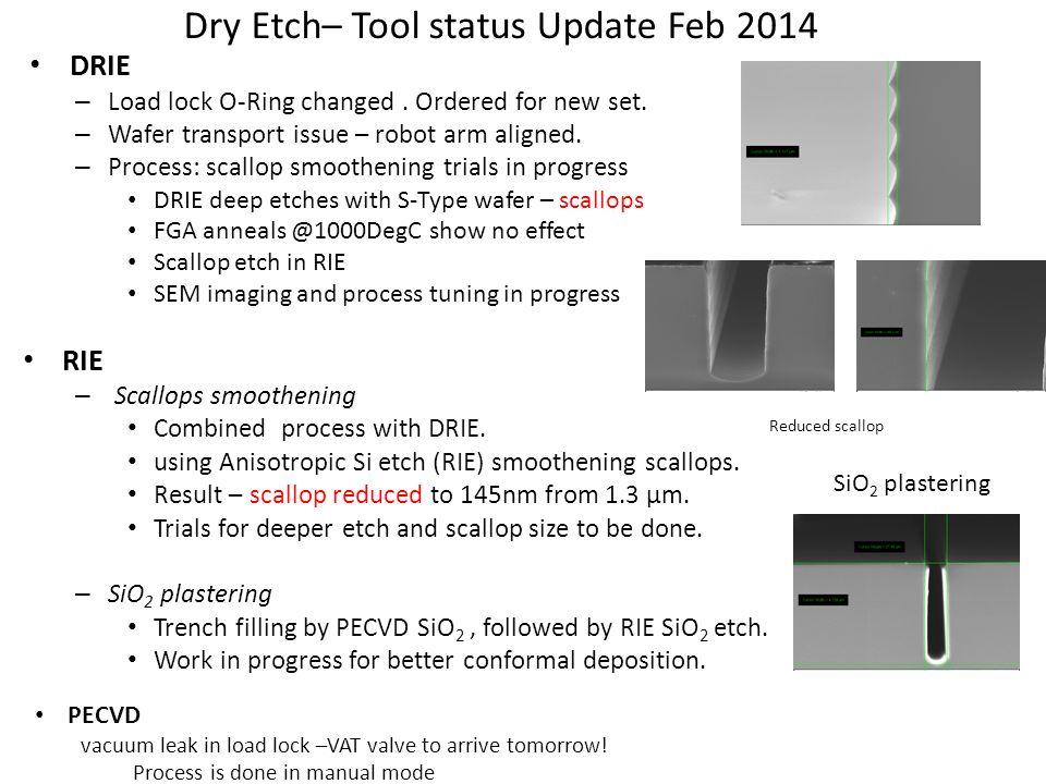 Dry Etch– Tool status Update Feb 2014