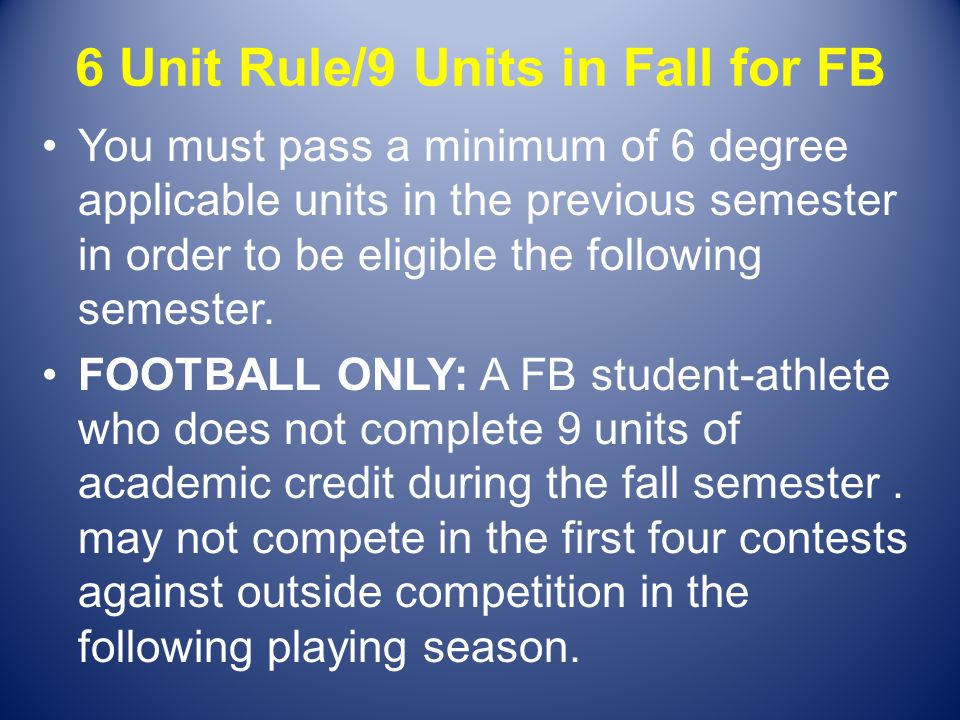 6 Unit Rule/9 Units in Fall for FB