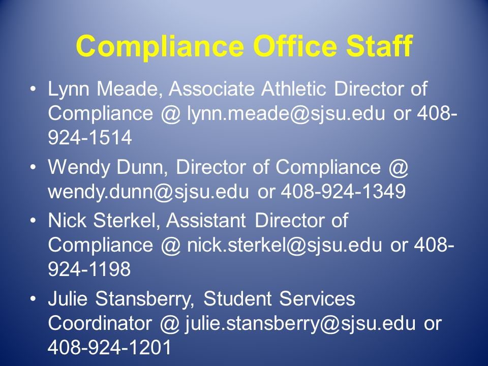Compliance Office Staff