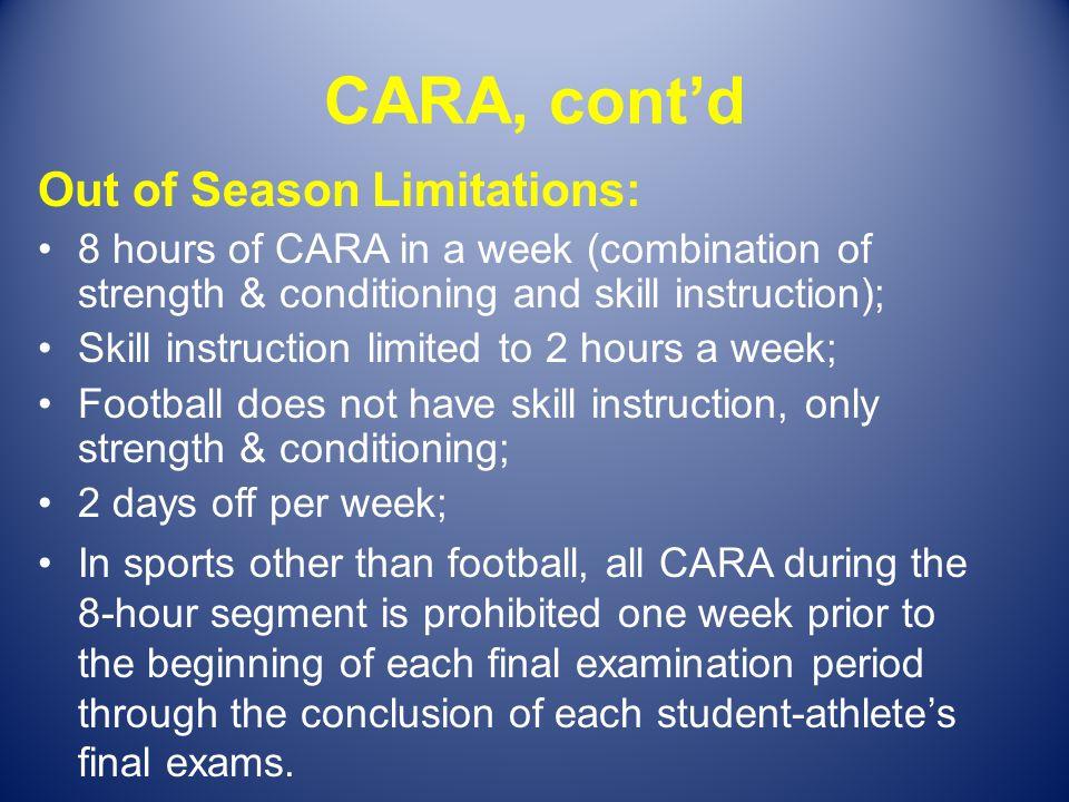 CARA, cont'd Out of Season Limitations: