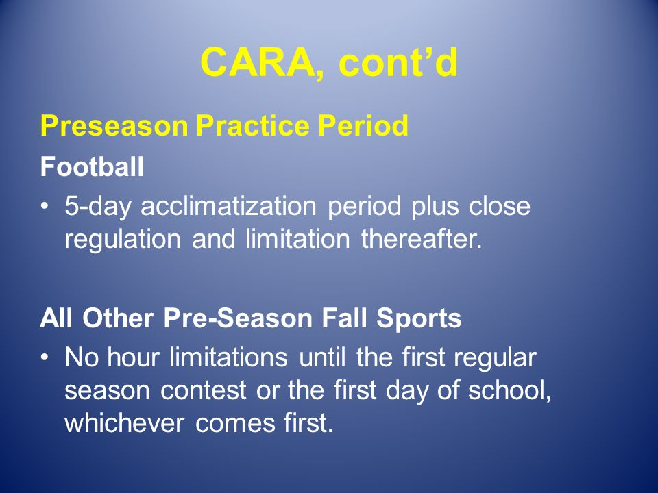CARA, cont'd Preseason Practice Period Football
