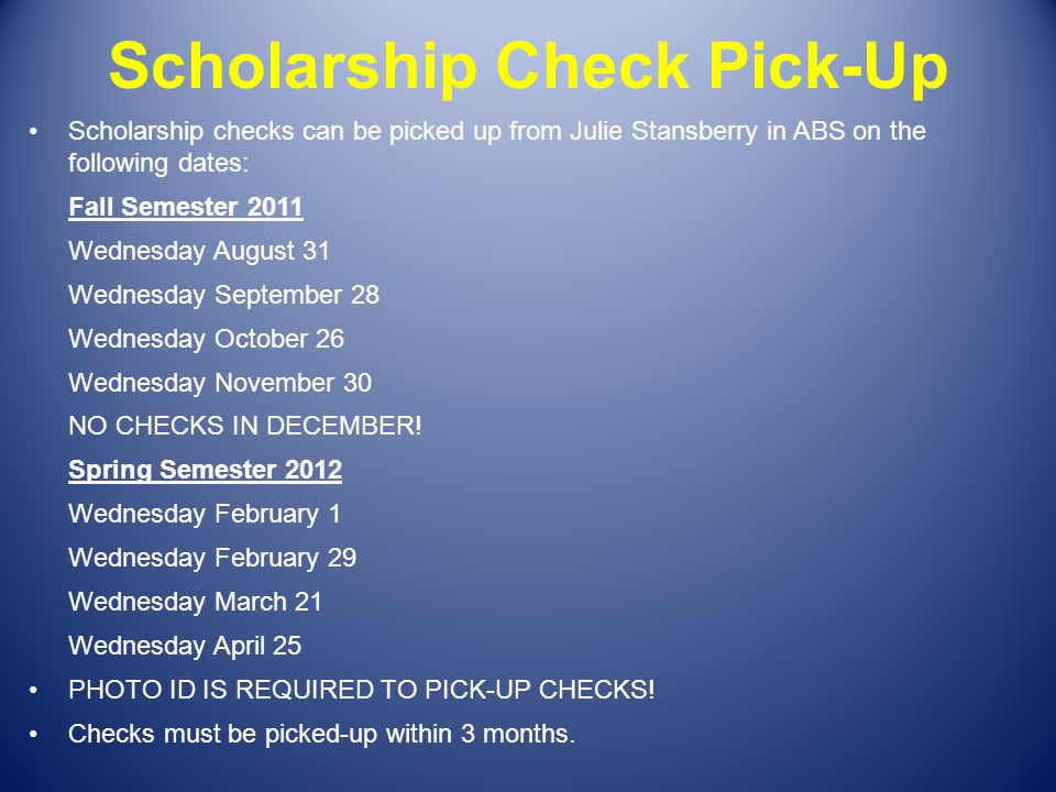 Scholarship Check Pick-Up
