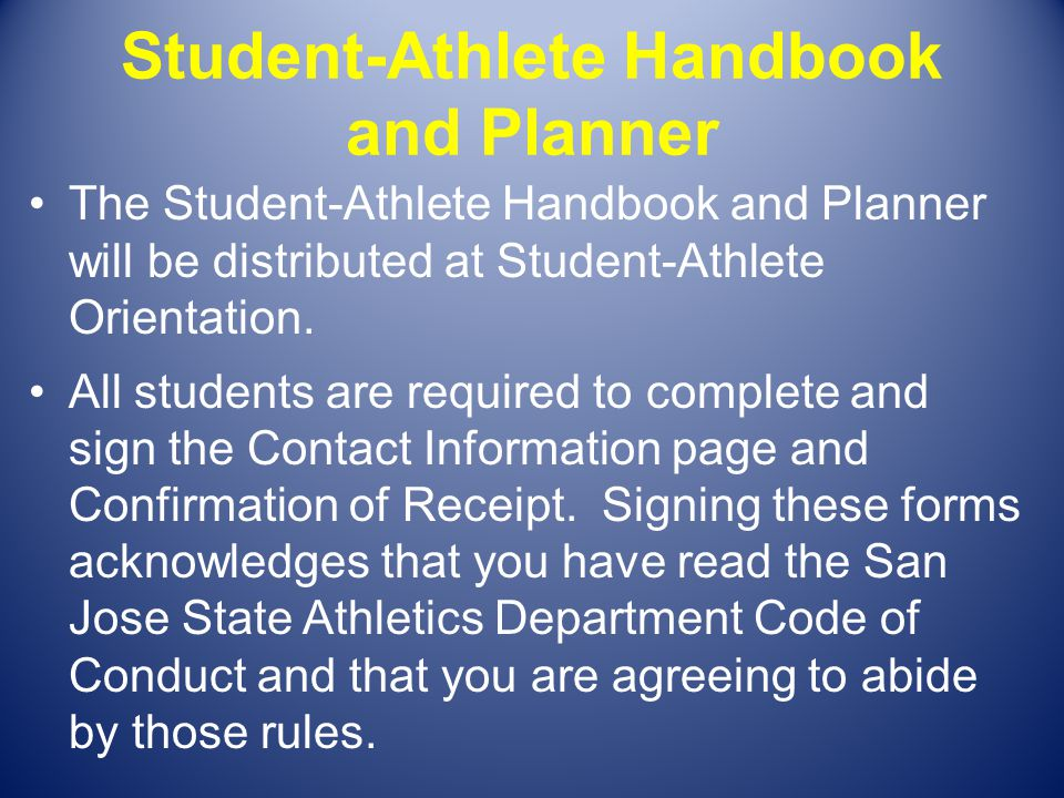 Student-Athlete Handbook and Planner