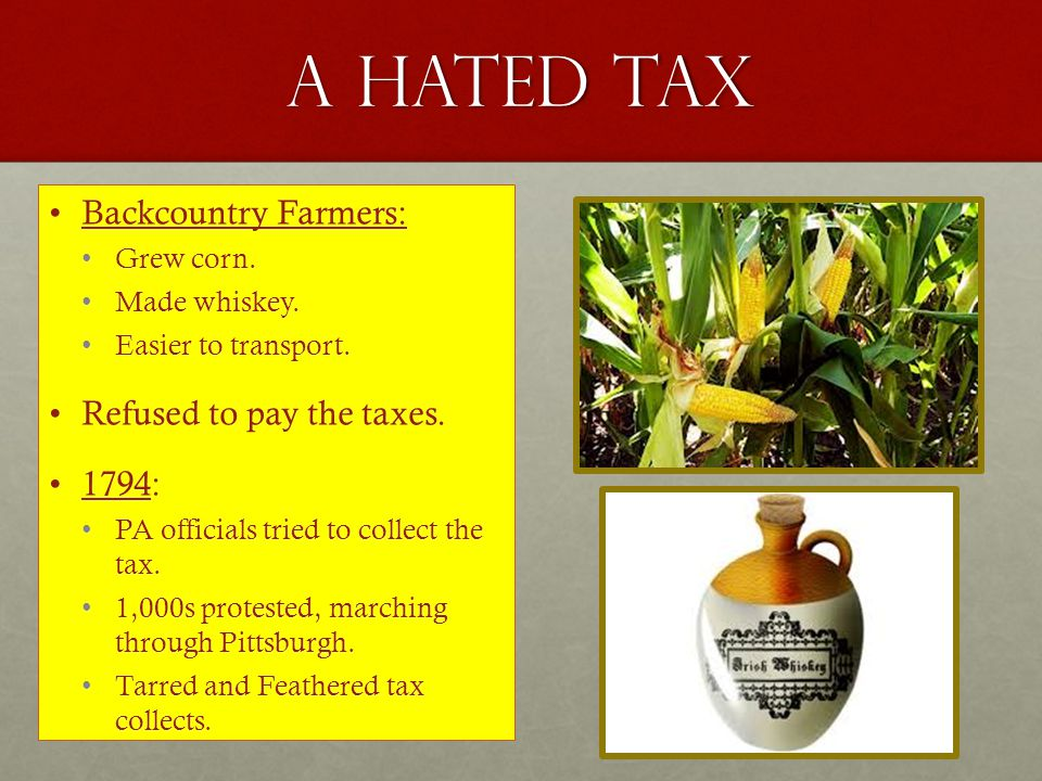 A hated tax Backcountry Farmers: Refused to pay the taxes. 1794: