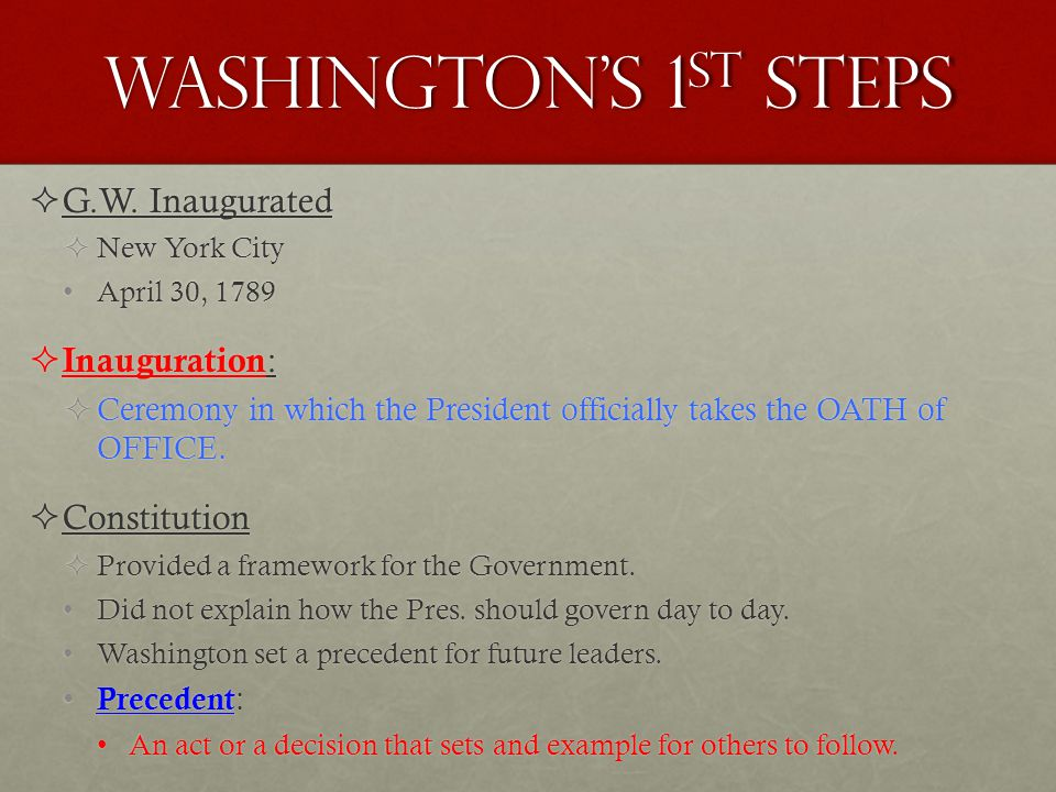 Washington's 1st steps G.W. Inaugurated Inauguration: Constitution
