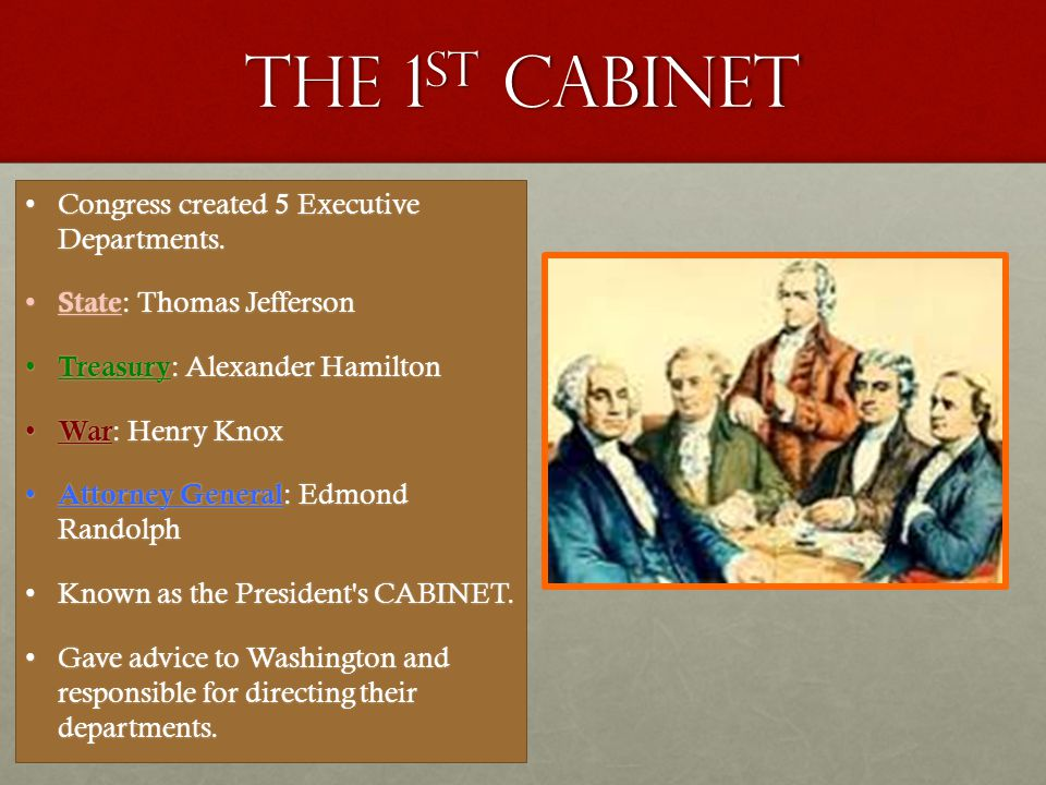 The 1st cabinet Congress created 5 Executive Departments.