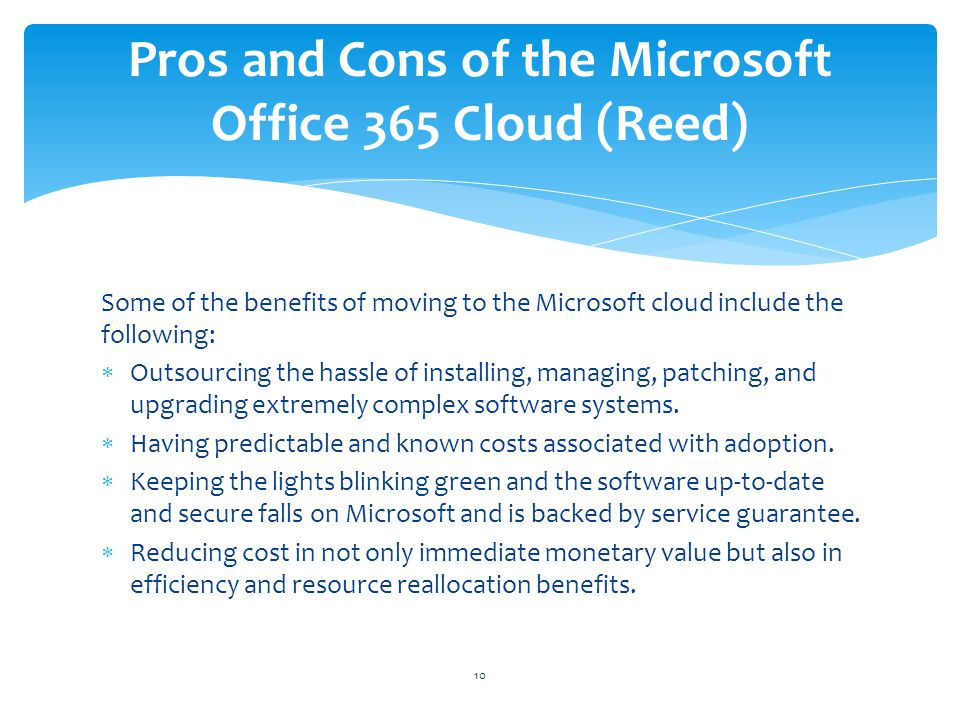 Pros and Cons of the Microsoft Office 365 Cloud (Reed)