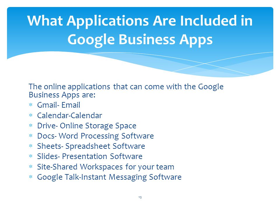 What Applications Are Included in Google Business Apps
