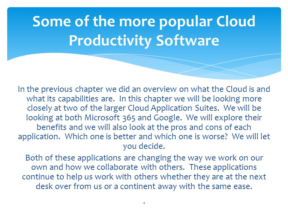 Some of the more popular Cloud Productivity Software