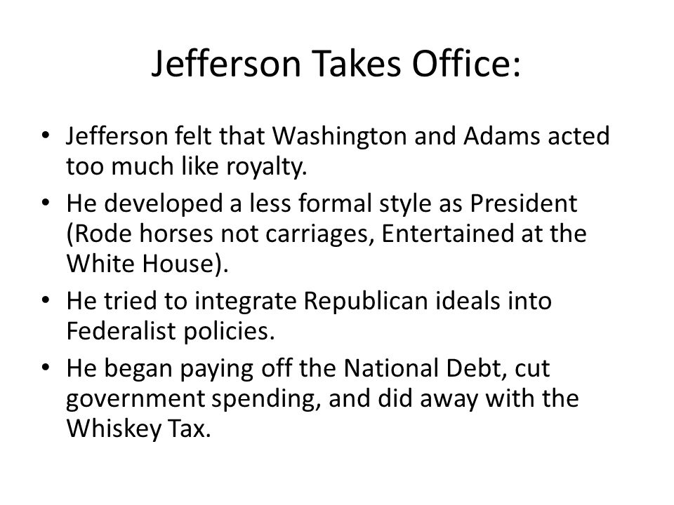 Jefferson Takes Office: