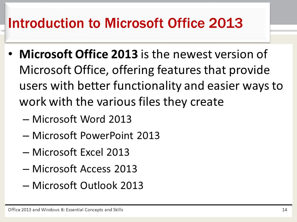 Introduction to Microsoft Office 2013
