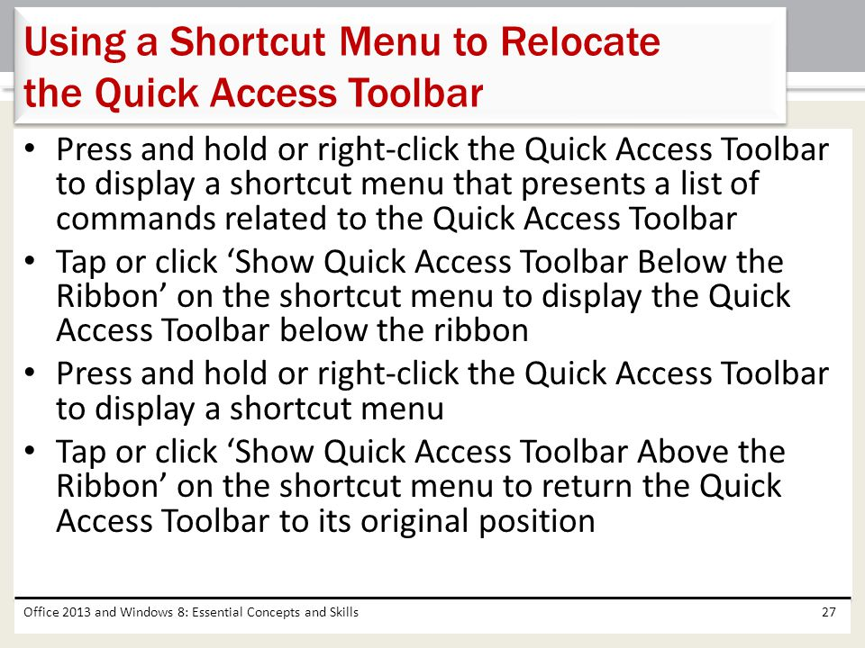 Using a Shortcut Menu to Relocate the Quick Access Toolbar