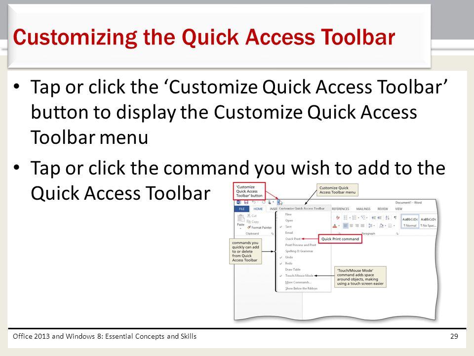 Customizing the Quick Access Toolbar