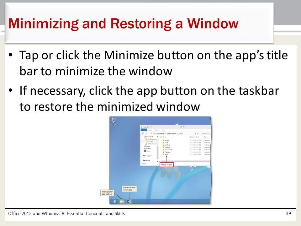 Minimizing and Restoring a Window